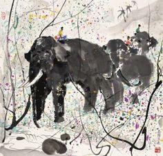 킨더반 친구들 이번 주제는 우관중 감상 - 동물 입니다!중국 현대미술의 거장 우관중의 작품 중 동물을 주...