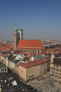 View from Alter Peter/ St. Peter - Cathedral - Marienplatz, Rathaus, Frauenkirche/ Dom zu unserer lieben Frau - Munich/ München, Germany/Deutschland
