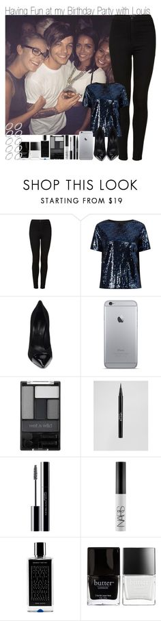 """It's my Birthday! Having Fun at My Birthday Party with Louis"" by elise-22 ❤ liked on Polyvore featuring Topshop, Casadei, Wet n Wild, Stila, shu uemura, NARS Cosmetics, Agonist, Butter London and ASOS"