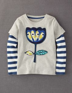 f52e7a5790 Mini Boden 'Retro' Appliqué Layered Sleeve Tee (Little Girls & Big Girls)