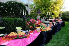LDS wedding, Catered Wedding.  Lunch Buffet with a Orange, Pink and Black color scheme. Photo by Tami Webb Photography. WeddingLDS.com.