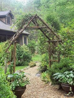 Like the mix of planted and potted!! Small Yard & Small Garden Landscaping Ideas, Rustic Arbor