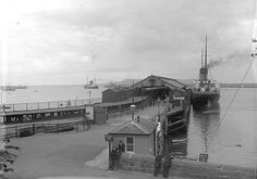 Ship docked at pier, Kingstown, Co. Old Pictures, Old Photos, Michael Church, Photo Engraving, Ireland Homes, Dublin City, Dublin Ireland, Paris Skyline, Ivy Rose