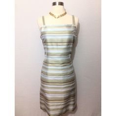 Pastel Striped Silk Dress Beautiful size 12 dress from Casual Corner. Great preloved condition. No rips or stains. Smoke free environment. Shades of pastel blues and greens. Zipper closure on side. She'll 100% silk. Lining 100% acetate Casual Corner Dresses