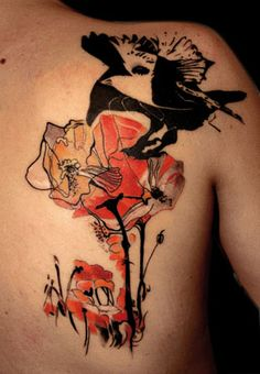Raven and bird with flowers. Tattoo by Buena Vista Tattoo Club in Würzburg, Germany.