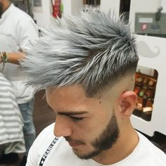 Shaved Sides + Spiky Hair on Top + Grey Dyed Hair