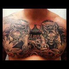Chest piece i worked on yesterday Cool Chest Tattoos, Chest Piece Tattoos, Face Tattoos, Leg Tattoos, Body Art Tattoos, Tattoos For Guys, Foo Dog Tattoo Design, Locket Tattoos, Asian Dragon Tattoo