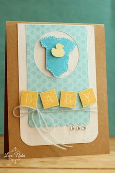 luv the colors: kraft, aqua, yellow and vanilla . banner spelling out BABY . Baby Boy Cards, New Baby Cards, Baby Shower Cards, Scrapbook Cards, Scrapbooking, Cricut Cards, Marianne Design, Card Making Inspiration, Creative Cards