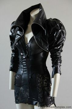 Bolero Jacket leather look Steampunk Black Cropped Sexy by chrisst, $320.00
