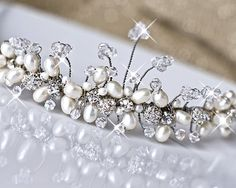 Bridal Tiara. Wedding Silver Tiara. Freshwater Pearls by MARTALILY, £84.00