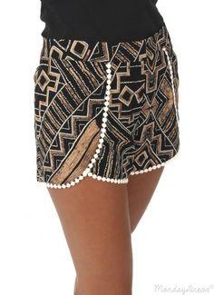 Mocha Wonderwall Pom Pom Shorts