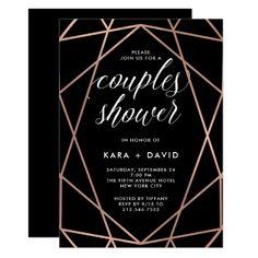 Black Geometric Faux Rose Gold Couples Shower Card