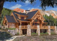 Five Timber Frame Mountain Homes You'll Dream About - Woodhouse The Timber Frame Company - - Mountain homes are amongst the top design choices for today's new home buyers. Here are our top 5 timber frame Mountain Homes. Timber Frame Home Plans, Timber Frame Homes, Timber House, Timber Frames, Modern Rustic Homes, Rustic Home Design, Rustic Decor, A Frame Cabin, A Frame House