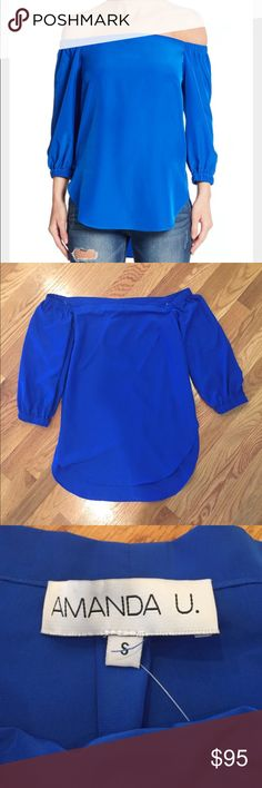 Amanda uprichard blue silk shirt Size small brand new! Retail goes for $108. Royal blue off the shoulder top. 100% polyester - dry clean only Amanda Uprichard Tops Blouses