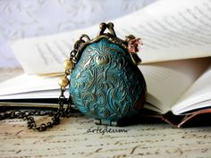 Purse locket necklace Vintage Inspired purse by WhiteTeapot, $36.00