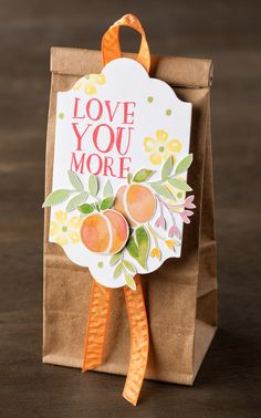 The images in the Fresh Fruit stamp set pair so wonderfully with the hand painted images in the Fruit Stand designer series paper. With a bit of fussy cutting, it's easy to make lovely gift packaging like this. #stampinup