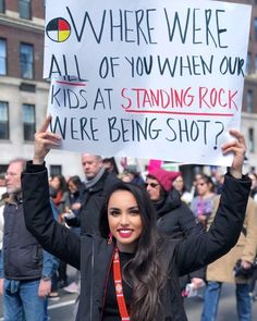 """""""Where were all of you when our kids at Standing Rock were being shot?"""" March 24, 2018. #MarchForOurLives  Photo credit: Does anyone know who took this picture or where it was taken?"""