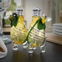 Honey Bee Glass Salt & Pepper Shakers