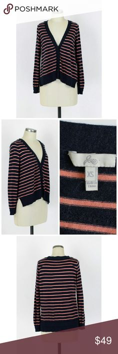 "Joie striped cardigan sweater Sz XS. Joie striped cardigan sweater.  Navy with salmon pink stripes.  Long sleeves. V-neck. Button front. Oversized fit. Hangs longer in the back. 40% nylon 35% rayon 20% wool 5% cashmere. Very soft and comfy!  Excellent condition, no flaws. Approx measurements Bust 40"" Length 22.5""-24.5"". Joie Sweaters Cardigans"
