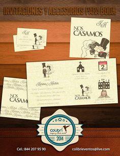Invitacion a base de íconos e ilustraciones