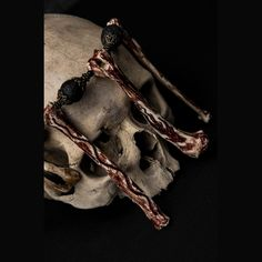 ⋮ BLOOD FIRE DEATH ⋮ BONE NECKLACE  - black lava beads - metal beads (zinc & cooper alloy) - animal bones - buffalo teeth - bones are carved and painted with pigs blood - length:...