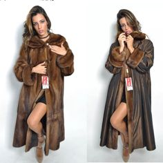 BROWN SAGA MINK LONG TRENCH FUR COAT CLASS- JACKET CHINCHILLA FOX SABLE VEST | Clothing, Shoes & Accessories, Women's Clothing, Coats & Jackets | eBay!