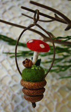 Acorn cap and woolly mushroom ornament. $11.00.