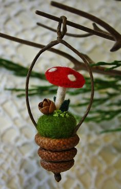 Acorn cap and woolly mushroom ornament. $11.00. Possible use for my acorn caps.