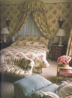 A classic bedroom by John Fowler perhaps a little busy for modern taste but the height of fashion at the time!