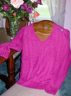 St. John's Bay® Cable-Knit V-Neck Sweater Festival Fuchsia Large #StJohnsBay #VNeck