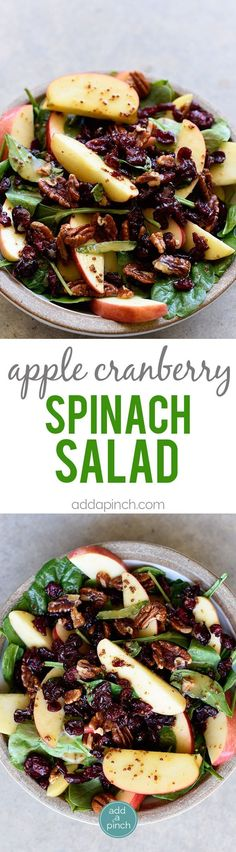 Apple Cranberry Spinach Salad Recipe - This Apple Cranberry Spinach Salad recipe is loaded with crisp apples, crunchy pecans or walnuts, and sweet cranberries and topped with a delicious apple cider vinaigrette dressing that is simply amazing! The perfect salad for guests and special meals! // addapinch.com