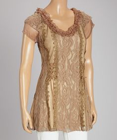 Loving this Brown Floral Lace Linen-Blend Cap-Sleeve Top on #zulily! #zulilyfinds