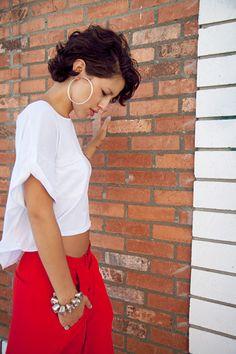 Red Sporty Pants. White TShirt Outfit. Urban Fashion. Swag. Dope. Streetwear. Karlas Closet