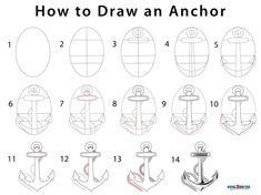 An anchor is not only a device to moor vessels to the sea bed but also acts as a nautical symbol. The shape reminds us of sailors who battle through rough Bible Coloring Pages, Cute Coloring Pages, Diy Step By Step, Step By Step Drawing, How To Draw Lightning, Doodle Characters, Cartoon Characters, Nautical Drawing, Anchor Drawings
