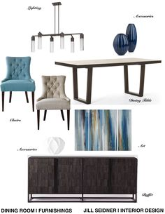 Irvine, CA Residence Dining Room Furnishings Concept Board, Revised. #InteriorDesign #Furniture 