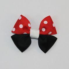 2 Small Minnie Mouse Disney Bows / red white por SusannasBowtique