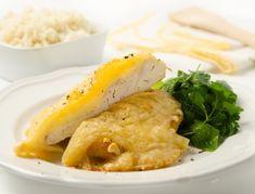 Putenschnitzerl+mit+Zwiebel+und+Käse+überbacken