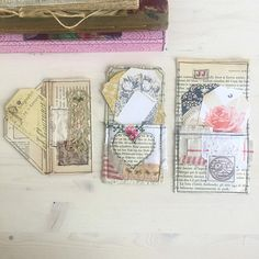 Gorgeous set of 3 journal page pockets made with antique book pages. These are a beautiful addition to your journals, whether they be a Traveler notebook journal, junk journal, planner and so on.  They are made with antique book pages . Several layers have been put together so they are strong and then machine sewn together. Then they have been embellished with beautiful antique fabrics, some hand stamped, and lovely antique trims.  They can be used for all paper crafts including…