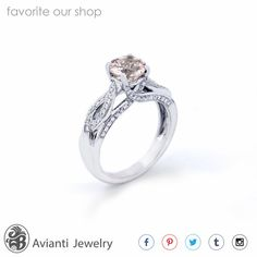 Ring, Diamonds Engagement Ring,Morganite Engagement Ring, Prong set Diamond Ring, Twisted Shank Engagement Ring, Wedding Ring | LDR02026