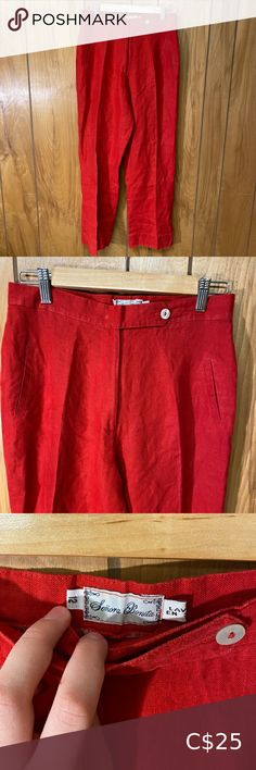 """Vintage 80's Bright Red Linen Pants These pants are so awesome! They're a really nice cotton linen material. The pockets on the side are unfortunately not real. Size: 28 Waist: 14"""" Hips: 20"""" Rise: 12"""" Inseam: 28"""" Vintage Pants & Jumpsuits Trousers Pinstripe Pants, Vintage Pants, Tommy Hilfiger Sweater, Faux Leather Pants, Pink Pants, Wool Pants, Pants Pattern, Blue Suede, Blue Sweaters"""
