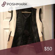 Bebe leather vest Cream/Tan/Black Leather Bebe Vest. 100% leather bebe Jackets & Coats Vests