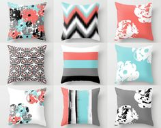 Throw Pillows Pillow Covers Coral Aqua Grey by HLBhomedesigns