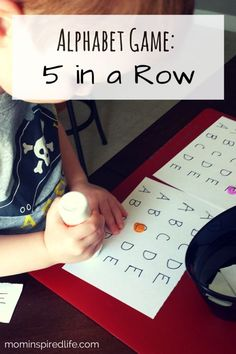 Alphabet Game 5 in a Row. This is a fun alphabet game for preschool children. It is a learning activity that works on letter recognition or identification and letter sounds. It is also requires high order thinking skills.