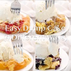 recipes videos This easy dump cake can be made 4 different ways and calls for just 4 simple ingredients. Such a classic dessert and the perfect recipe to have in your back pocket! Slow Cooker Desserts, Crock Pot Desserts, Poke Cakes, Cupcake Cakes, Cupcakes, Dessert Simple, Dump Cake Recipes, Dessert Recipes, Recipe For Dump Cake