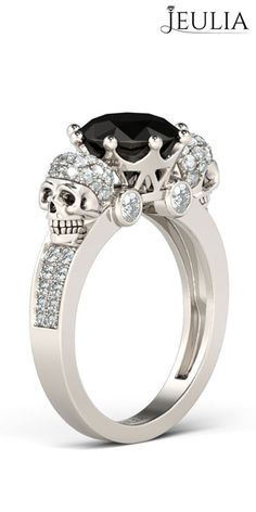 Two Skull-Design Black Diamond Sterling Silver Skull Ring #jeulia
