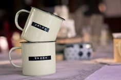 Named Enamel Mugs each (min order of Great memorable gifts for your guests. These act as favours and name cards! Available in pale green, pale yellow or white. Wedding Events, Our Wedding, Destination Wedding, Dream Wedding, Wedding Dreams, Weddings, Woodland Wedding, Rustic Wedding, Secret Squirrel