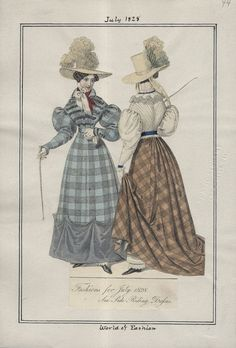 """LAPL, World of Fashion, July 1828. """"Sea Side Riding Dresses."""" Note the pantalettes."""