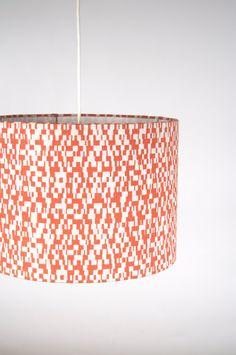 Pendant Light With Hand Printed Echo Drum Shade. #lauraTrevey #BrightBoldBeautiful