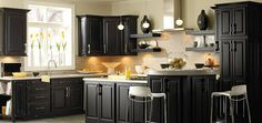 Painting kitchen cabinets black usually identified that you have modern contemporary kitchen design. Black kitchen cabinets always look more sophisticated and elegant. Kitchen Cabinets Pictures, Best Kitchen Cabinets, Farmhouse Kitchen Cabinets, Kitchen Cabinet Colors, Painting Kitchen Cabinets, Kitchen Ideas, Kitchen Colors, Diy Kitchen, Kitchen Paint