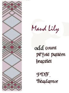 peyote pattern for bracelet Maud Lily instant download pdf by Beadamor on Etsy